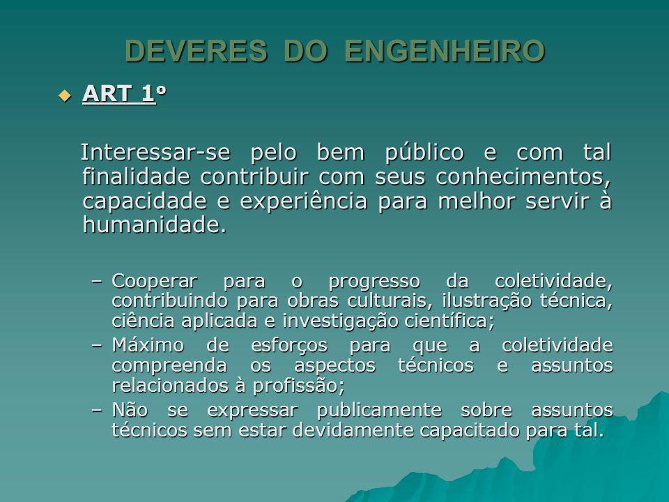 DEVERES DO ENGENHEIRO ART 1o