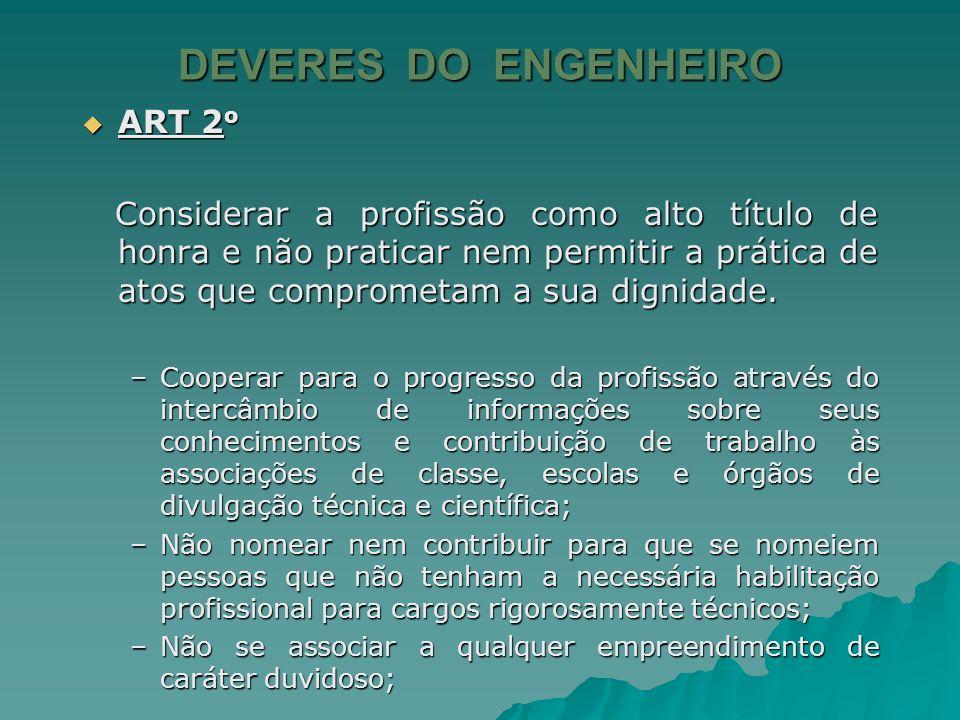 DEVERES DO ENGENHEIRO ART 2o
