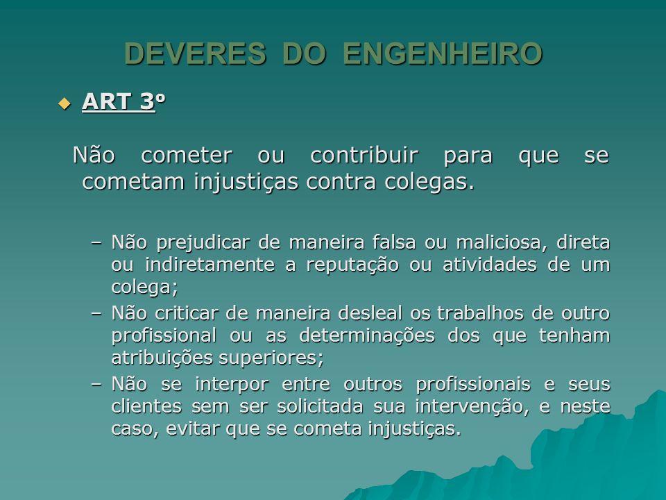 DEVERES DO ENGENHEIRO ART 3o