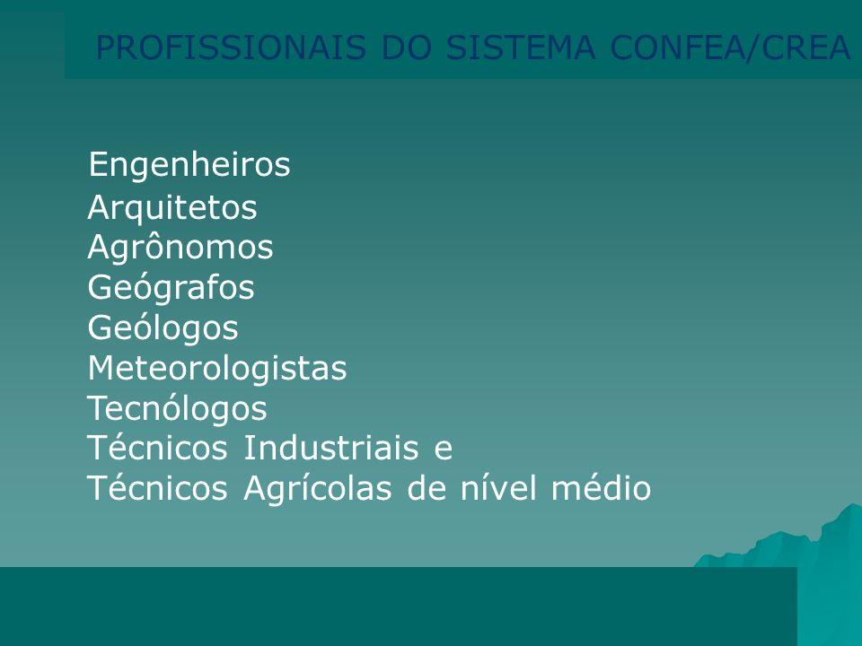 Engenheiros PROFISSIONAIS DO SISTEMA CONFEA/CREA Arquitetos Agrônomos