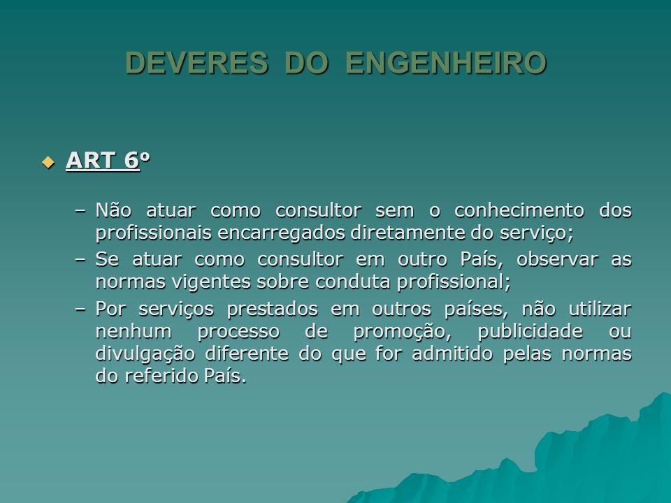 DEVERES DO ENGENHEIRO ART 6o