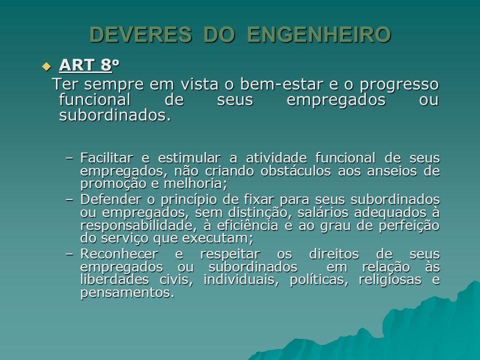 DEVERES DO ENGENHEIRO ART 8o