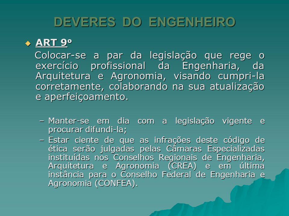 DEVERES DO ENGENHEIRO ART 9o