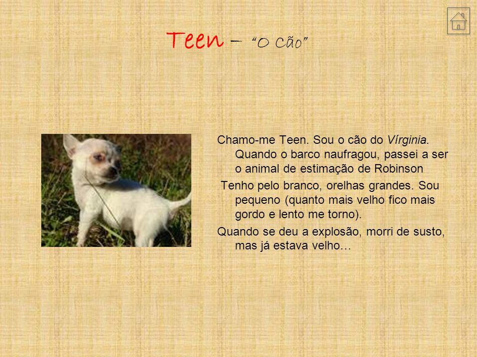 Teen – O Cão Chamo-me Teen. Sou o cão do Vírginia. Quando o barco naufragou, passei a ser o animal de estimação de Robinson