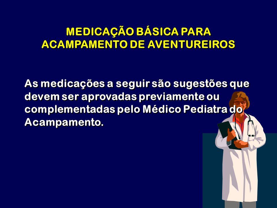 MEDICAÇÃO BÁSICA PARA ACAMPAMENTO DE AVENTUREIROS
