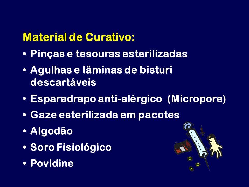 Material de Curativo: Pinças e tesouras esterilizadas