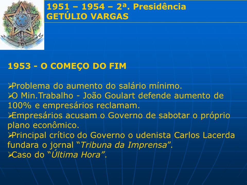 1951 – 1954 – 2ª. Presidência GETÚLIO VARGAS. 1953 - O COMEÇO DO FIM. Problema do aumento do salário mínimo.
