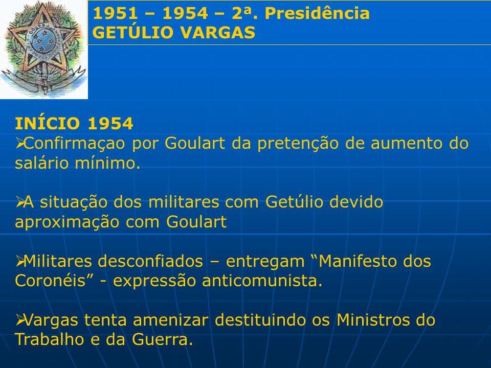 1951 – 1954 – 2ª. Presidência GETÚLIO VARGAS. INÍCIO 1954. Confirmaçao por Goulart da pretenção de aumento do salário mínimo.