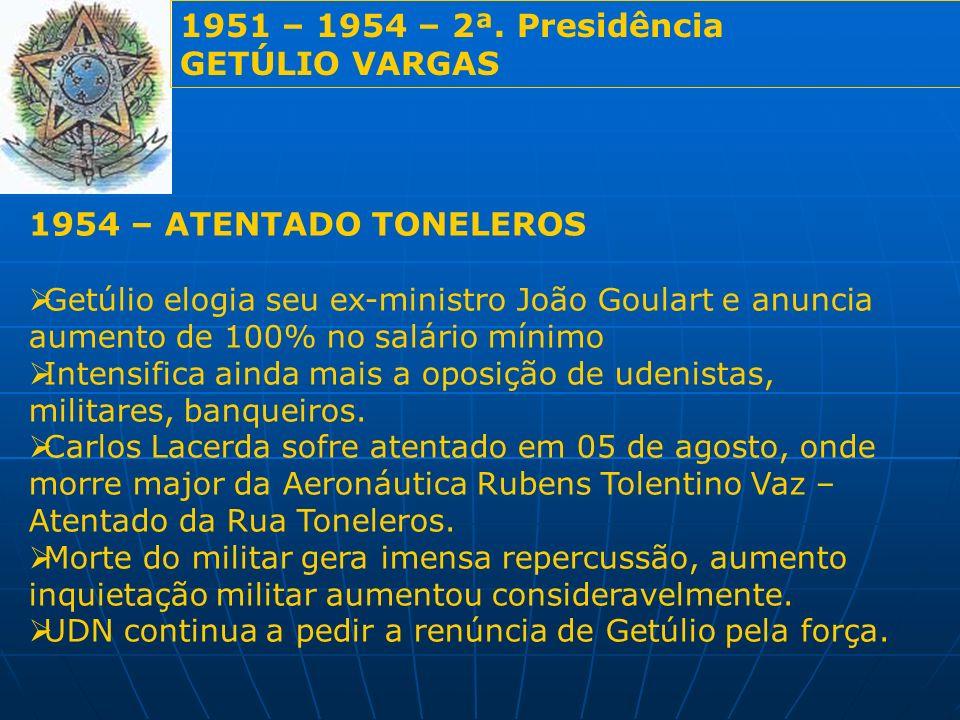 1951 – 1954 – 2ª. Presidência GETÚLIO VARGAS 1954 – ATENTADO TONELEROS