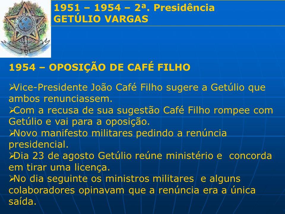1951 – 1954 – 2ª. Presidência GETÚLIO VARGAS. 1954 – OPOSIÇÃO DE CAFÉ FILHO.