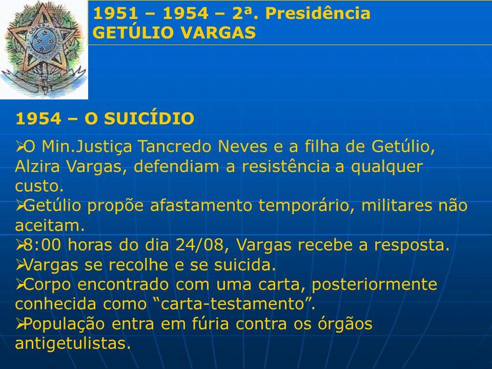 1951 – 1954 – 2ª. Presidência GETÚLIO VARGAS. 1954 – O SUICÍDIO.