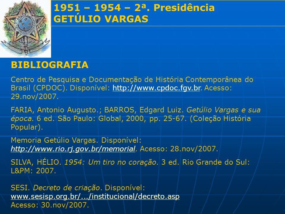 1951 – 1954 – 2ª. Presidência GETÚLIO VARGAS BIBLIOGRAFIA