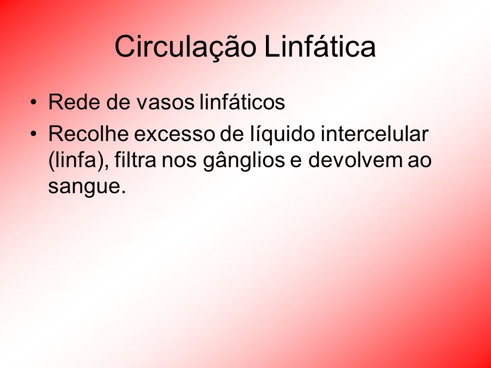 Circulação Linfática Rede de vasos linfáticos
