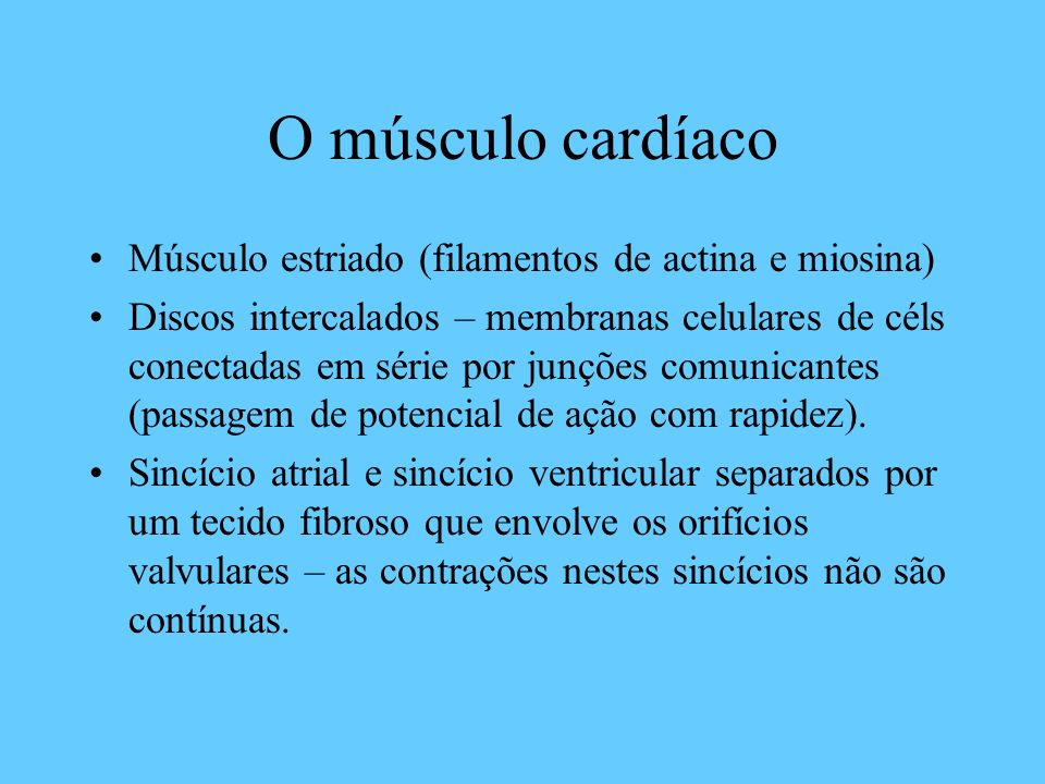 O músculo cardíaco Músculo estriado (filamentos de actina e miosina)