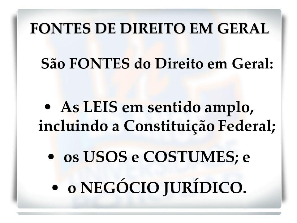 FONTES DE DIREITO EM GERAL
