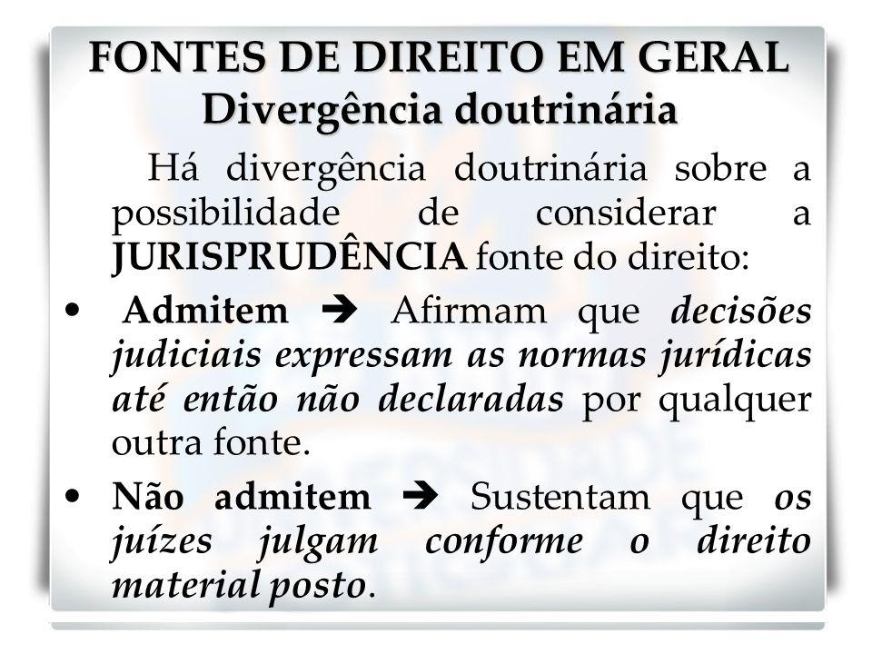 FONTES DE DIREITO EM GERAL Divergência doutrinária