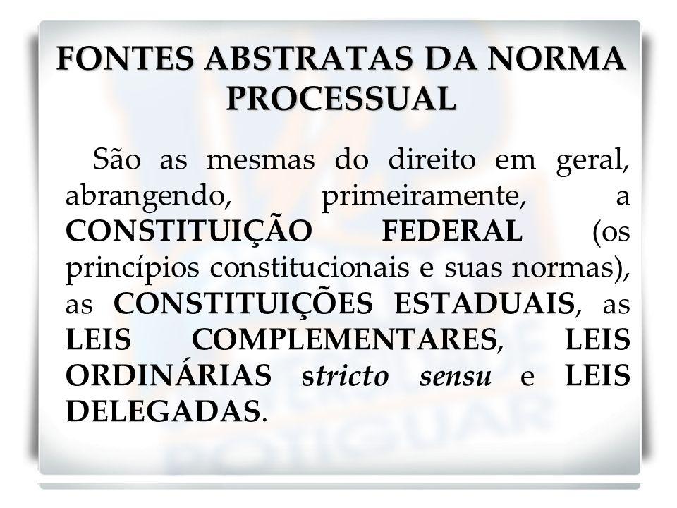 FONTES ABSTRATAS DA NORMA PROCESSUAL