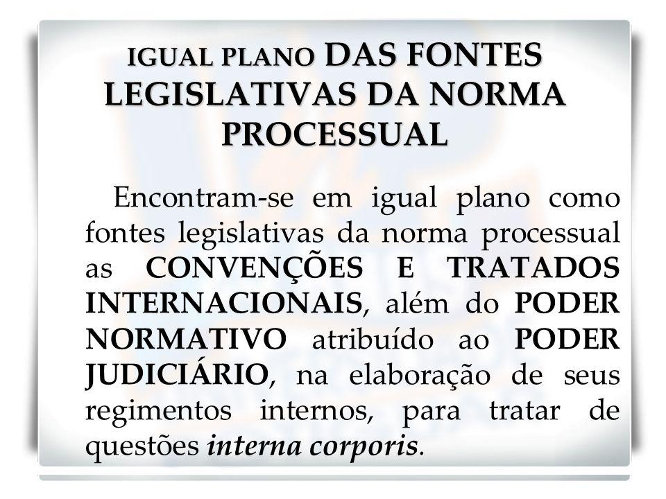 IGUAL PLANO DAS FONTES LEGISLATIVAS DA NORMA PROCESSUAL