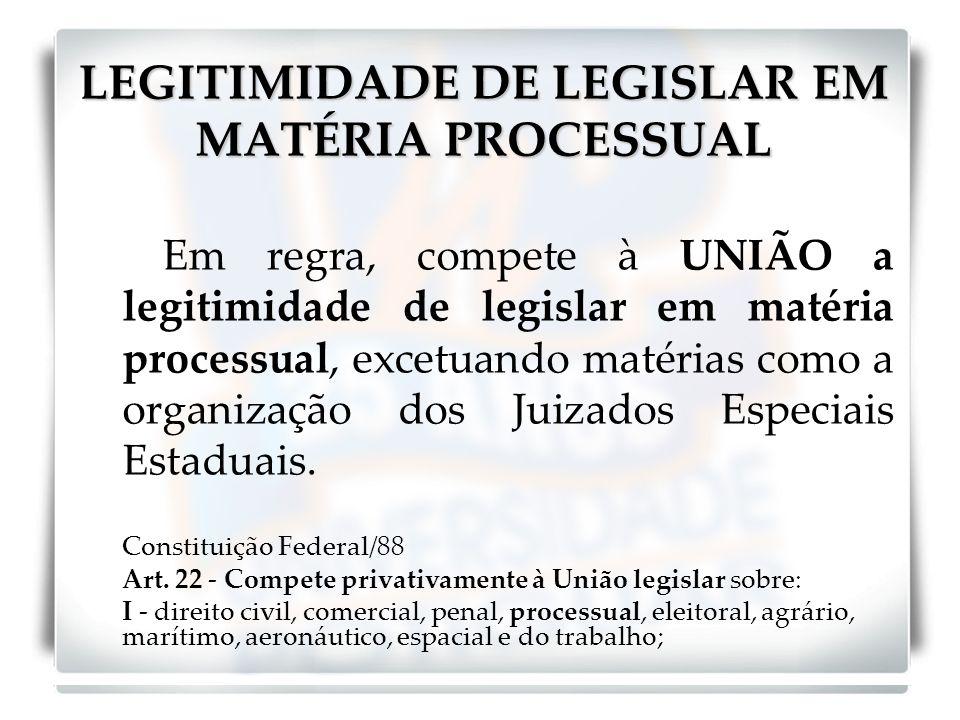 LEGITIMIDADE DE LEGISLAR EM MATÉRIA PROCESSUAL