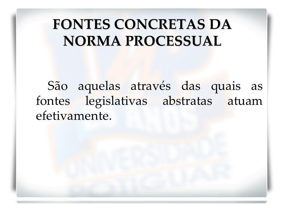 FONTES CONCRETAS DA NORMA PROCESSUAL