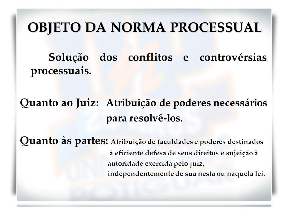 OBJETO DA NORMA PROCESSUAL