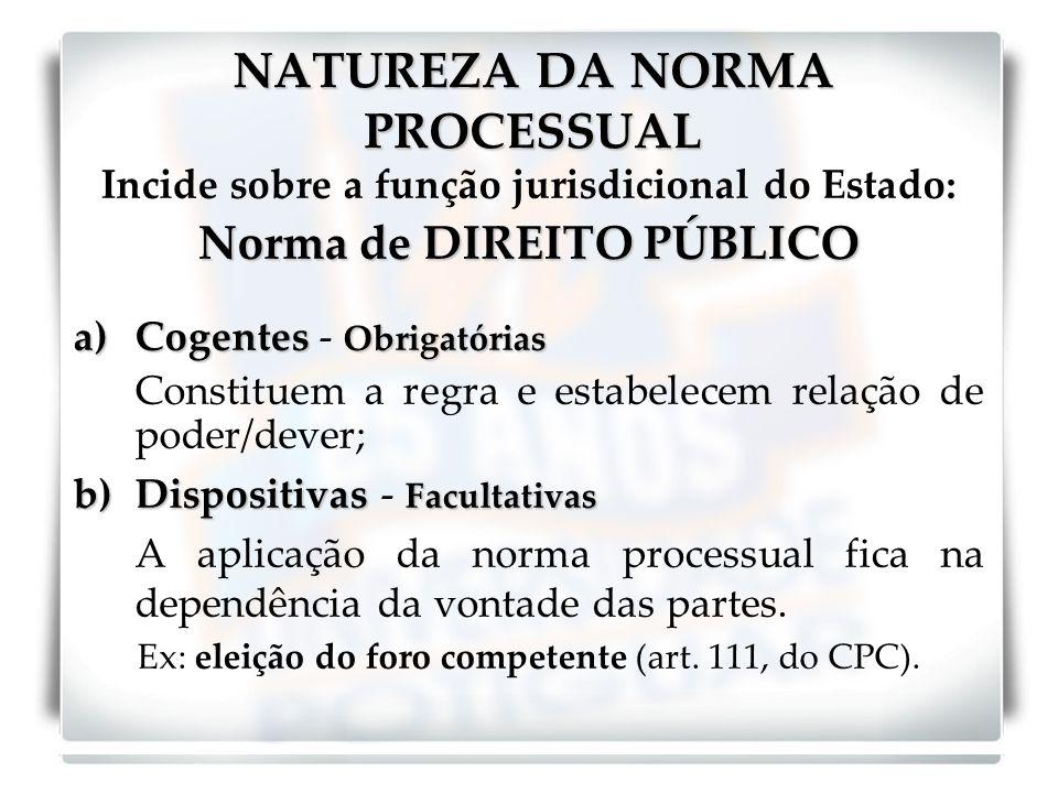 NATUREZA DA NORMA PROCESSUAL