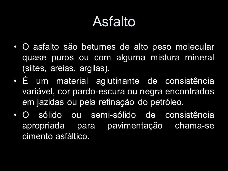 Asfalto O asfalto são betumes de alto peso molecular quase puros ou com alguma mistura mineral (siltes, areias, argilas).
