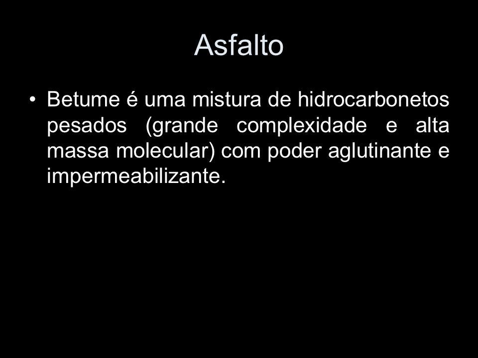 AsfaltoBetume é uma mistura de hidrocarbonetos pesados (grande complexidade e alta massa molecular) com poder aglutinante e impermeabilizante.
