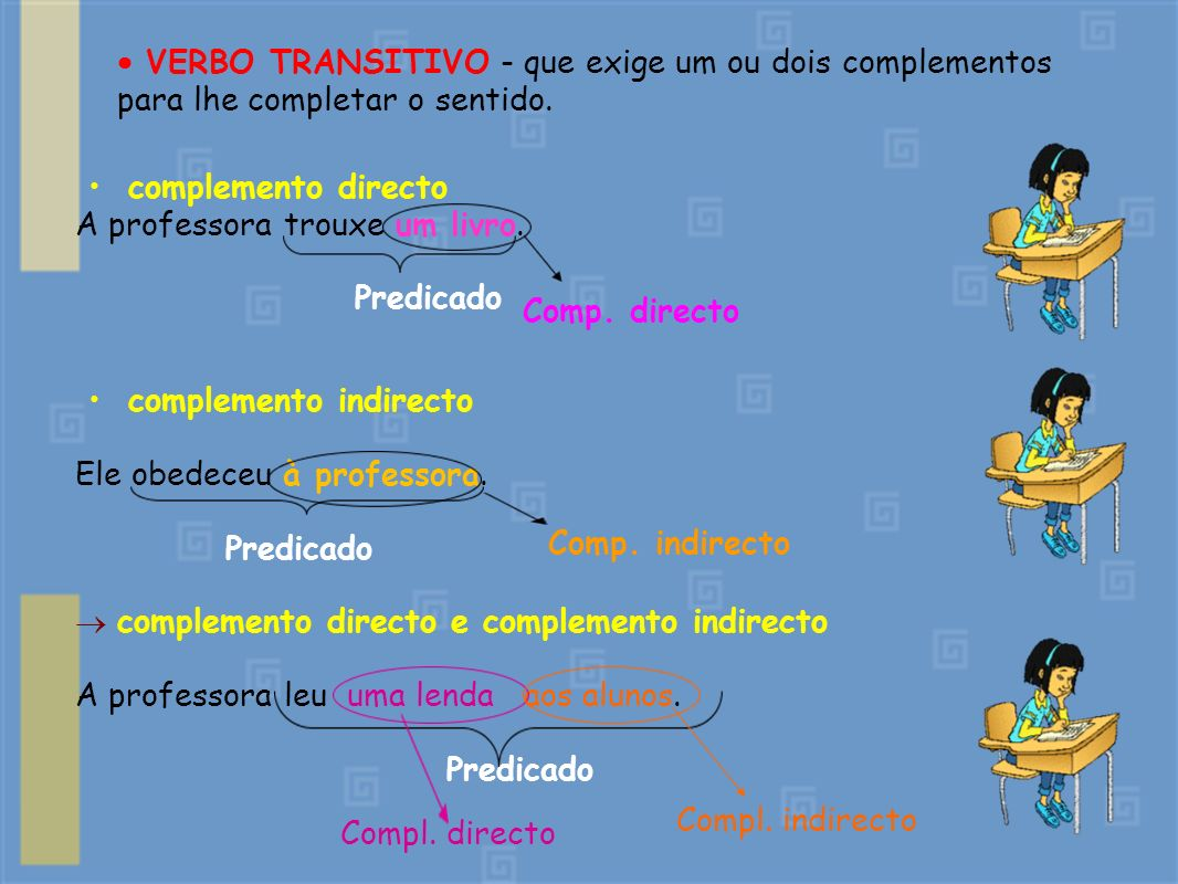  VERBO TRANSITIVO - que exige um ou dois complementos para lhe completar o sentido.