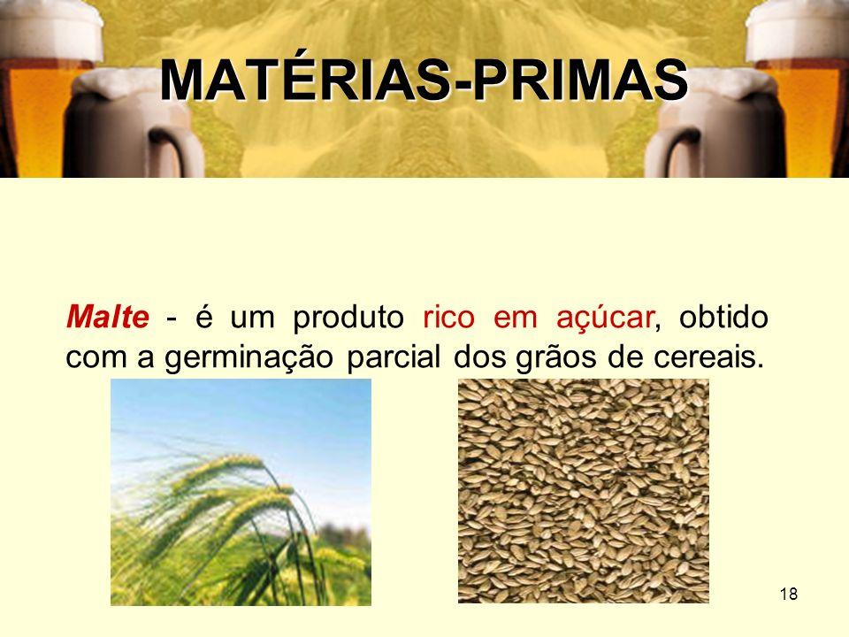 MATÉRIAS-PRIMASMalte - é um produto rico em açúcar, obtido com a germinação parcial dos grãos de cereais.