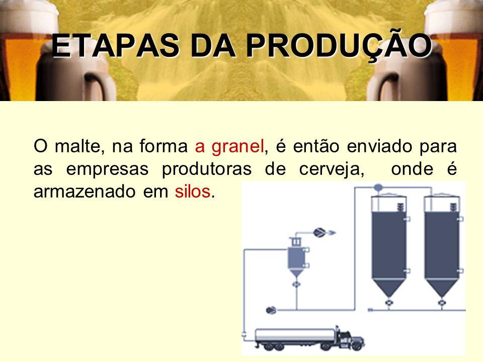 ETAPAS DA PRODUÇÃOO malte, na forma a granel, é então enviado para as empresas produtoras de cerveja, onde é armazenado em silos.