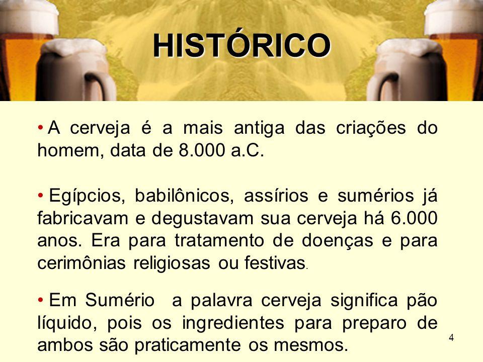 HISTÓRICOA cerveja é a mais antiga das criações do homem, data de 8.000 a.C.