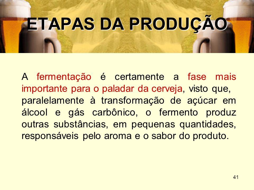 ETAPAS DA PRODUÇÃOA fermentação é certamente a fase mais importante para o paladar da cerveja, visto que,