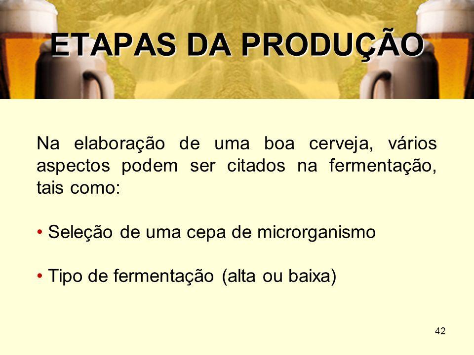 ETAPAS DA PRODUÇÃONa elaboração de uma boa cerveja, vários aspectos podem ser citados na fermentação, tais como: