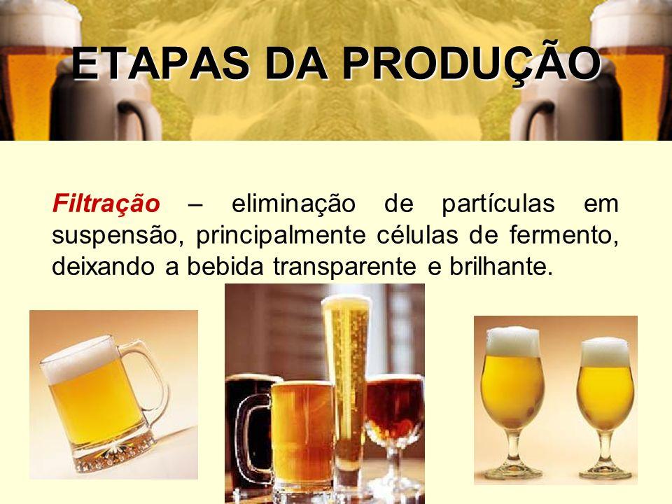 ETAPAS DA PRODUÇÃOFiltração – eliminação de partículas em suspensão, principalmente células de fermento, deixando a bebida transparente e brilhante.