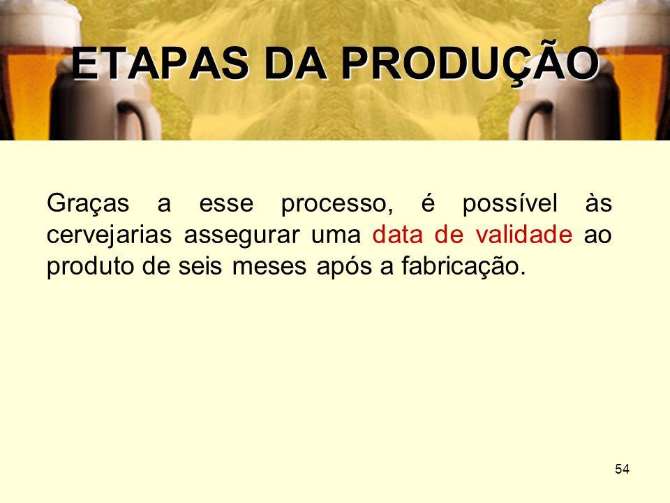 ETAPAS DA PRODUÇÃOGraças a esse processo, é possível às cervejarias assegurar uma data de validade ao produto de seis meses após a fabricação.