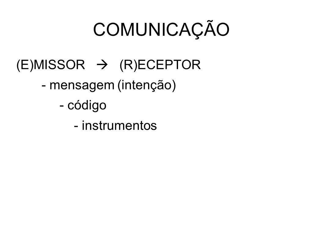 COMUNICAÇÃO (E)MISSOR  (R)ECEPTOR - mensagem (intenção) - código - instrumentos