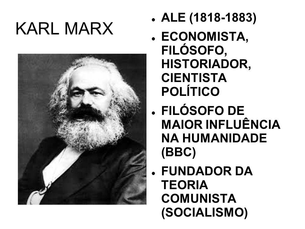 KARL MARX ALE (1818-1883) ECONOMISTA, FILÓSOFO, HISTORIADOR, CIENTISTA POLÍTICO. FILÓSOFO DE MAIOR INFLUÊNCIA NA HUMANIDADE (BBC)