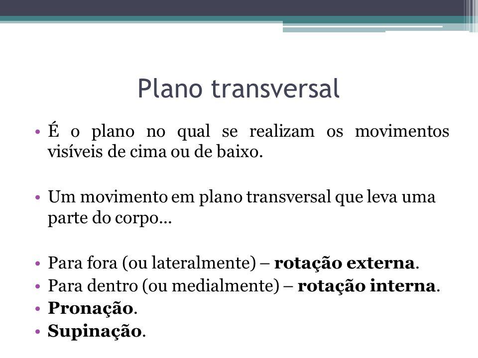Plano transversalÉ o plano no qual se realizam os movimentos visíveis de cima ou de baixo.