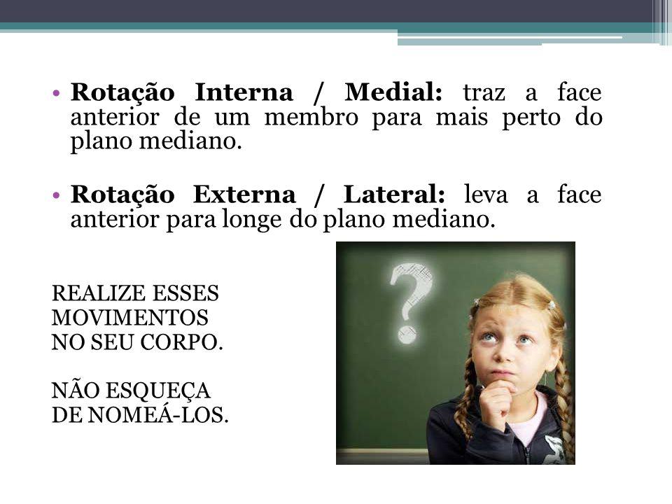 Rotação Interna / Medial: traz a face anterior de um membro para mais perto do plano mediano.