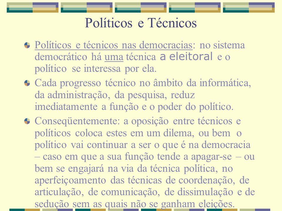 Políticos e Técnicos Políticos e técnicos nas democracias: no sistema democrático há uma técnica a eleitoral e o político se interessa por ela.