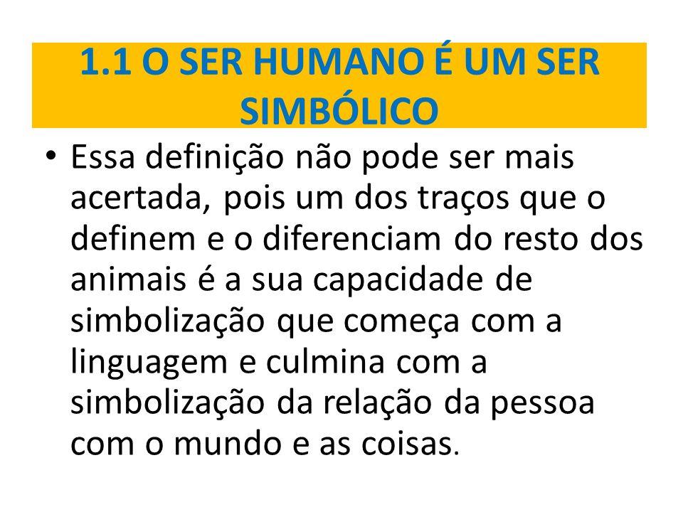 1.1 O SER HUMANO É UM SER SIMBÓLICO