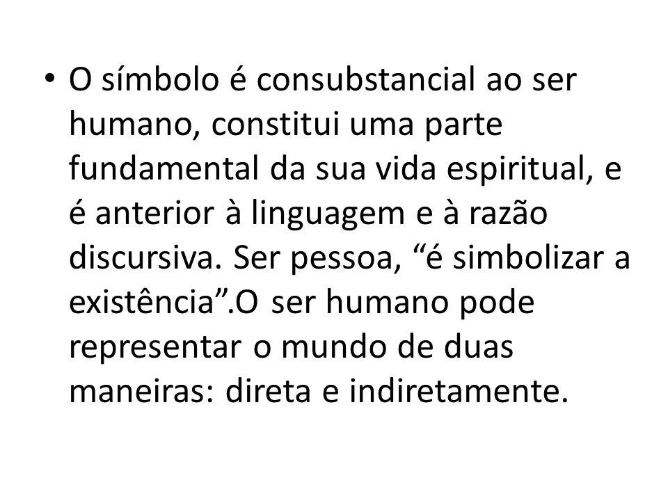 O símbolo é consubstancial ao ser humano, constitui uma parte fundamental da sua vida espiritual, e é anterior à linguagem e à razão discursiva.