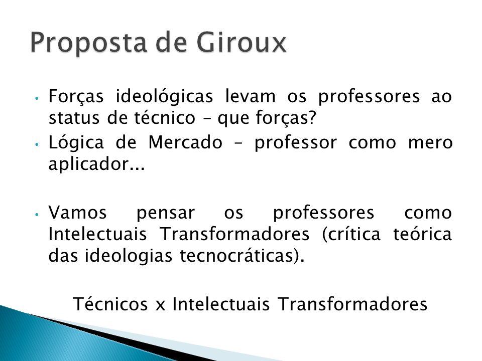 Técnicos x Intelectuais Transformadores