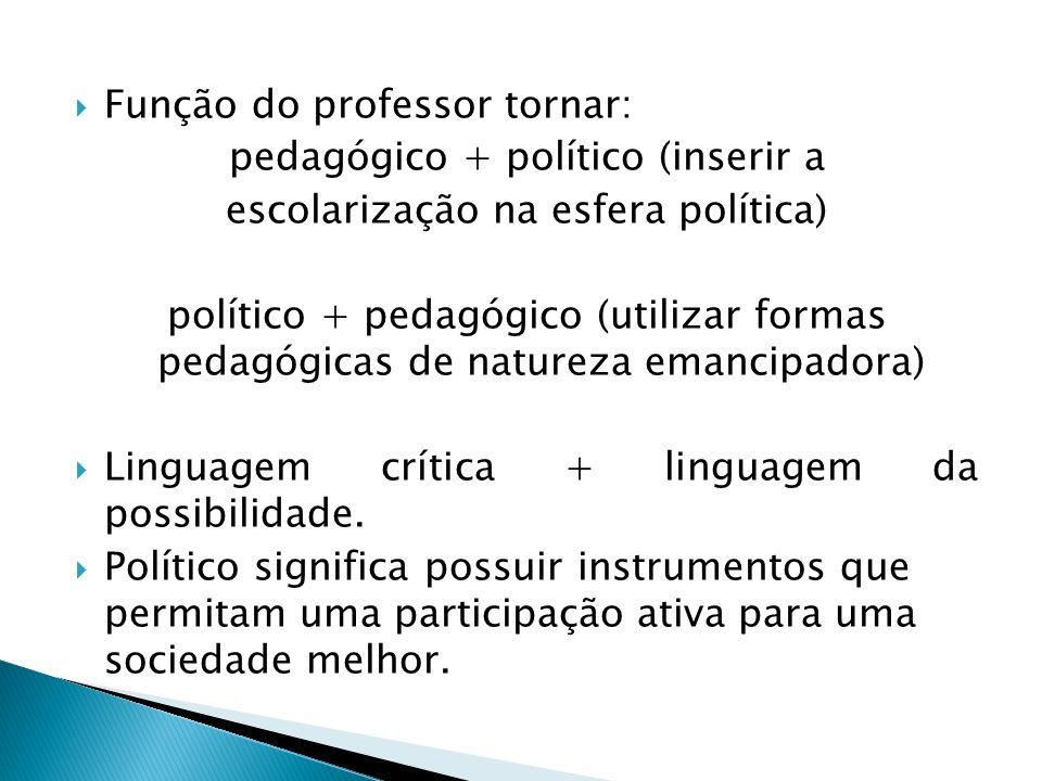 Função do professor tornar: pedagógico + político (inserir a