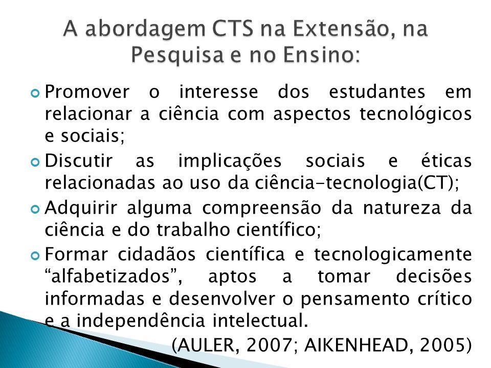 A abordagem CTS na Extensão, na Pesquisa e no Ensino: