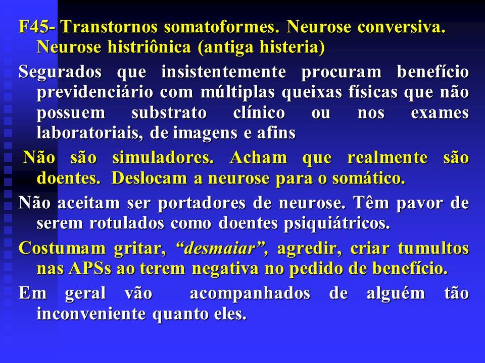 F45- Transtornos somatoformes. Neurose conversiva