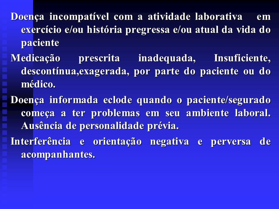 Doença incompatível com a atividade laborativa em exercício e/ou história pregressa e/ou atual da vida do paciente