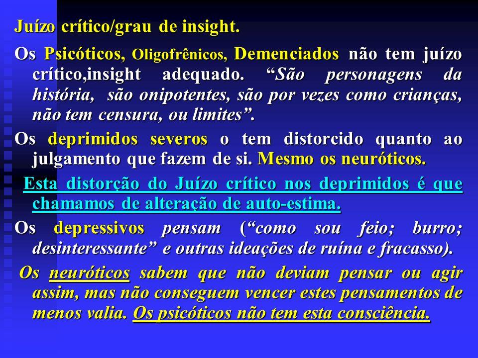 Juízo crítico/grau de insight.