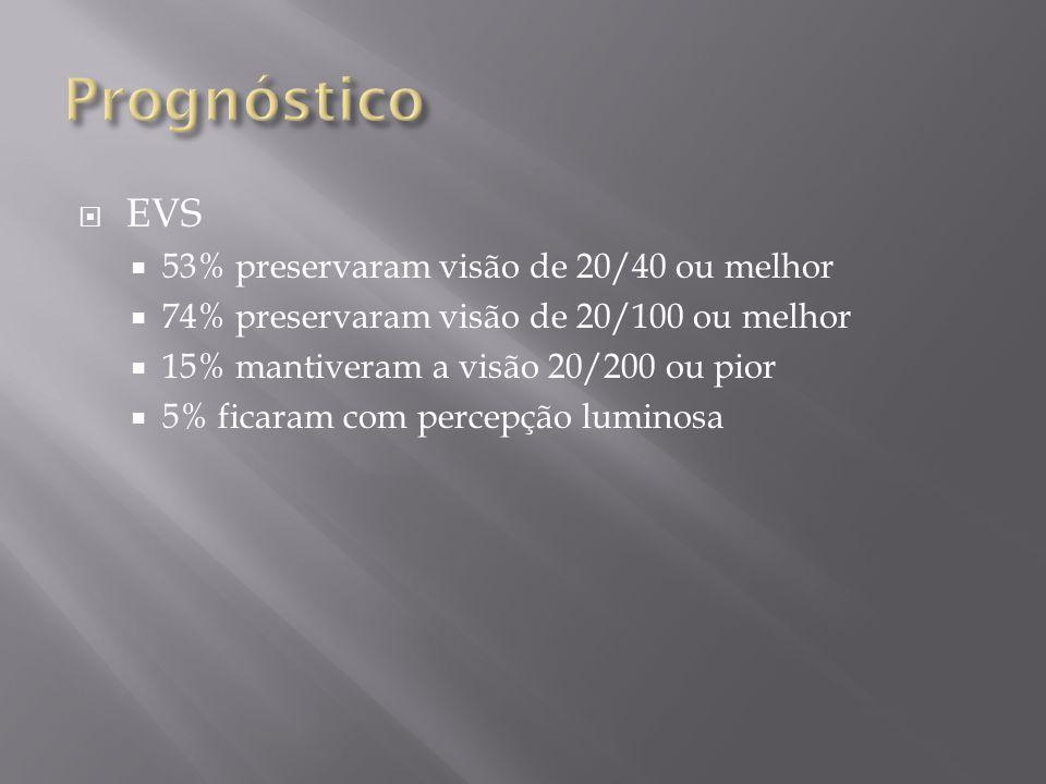 Prognóstico EVS 53% preservaram visão de 20/40 ou melhor